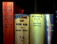 Photograph showing the spines of some of Orwell's published books