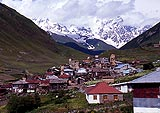 Photo of a village in the Svaneti region of north west Georgia. Here, people still pan for gold using the fleece of a sheep