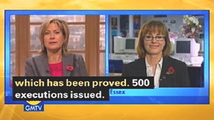 A still from GMTV Newshour, showing the subtitle '500 executions' instead of '500 exclusions'