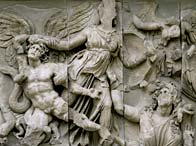 Restored west front of the Altar of Zeus at Pergamum, c.180 BC (marble)