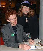 Picture: Chris Rankin and Harry Potter fan at Order Of the Pheonix release party in Norwich