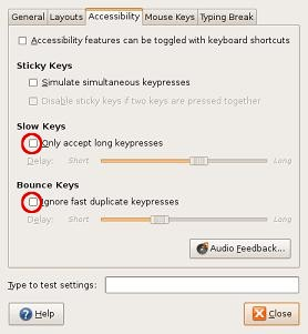 Detail from 'Keyboard Preferences' window