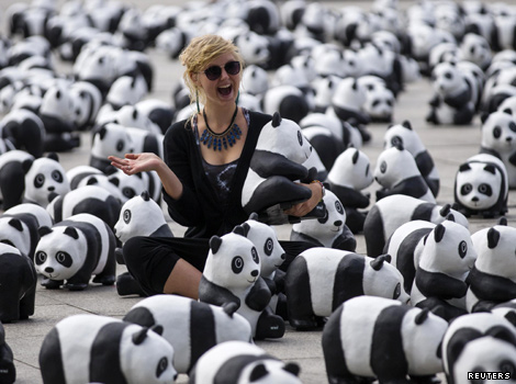 Woman surrounded by pandas