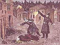Artists impression showing a victim of Jack the Ripper lying in the street