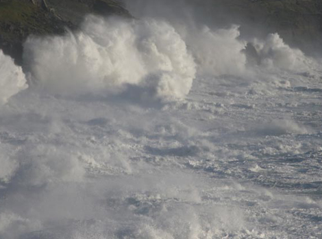The sea boils off Porthleven - by Peter Wood