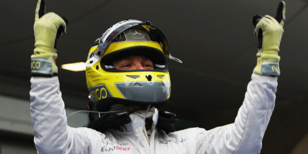 Nico Rosberg celebrates his maiden F1 win