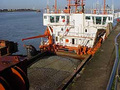 A dredger unloads at Dagenham