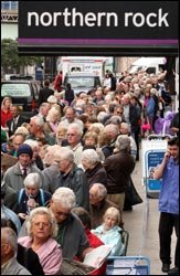 One of the queues outside Northern Rock branches in September 2007 Photo: Peter Macdiarmid /Getty Images