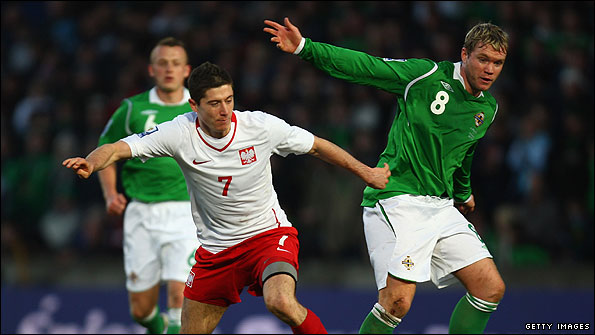Grant McCann in action for Northern Ireland