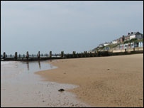 Breakwaters on the beach at Southwold