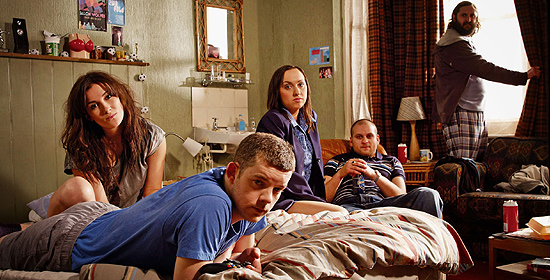 The cast of Him & Her (Russell Tovey as Steve, Sarah Solemani as Becky, Kerry Howard as Laura, Ricky Champ as Paul and Joe Wilkinson as Dan)