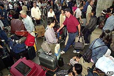 Passengers at Los Angeles International Airport