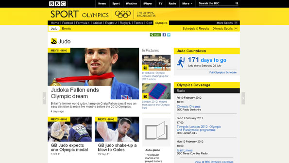 Screen grab of Judo page of London 2012 website with stories about Judo and related Olympic stories and features.