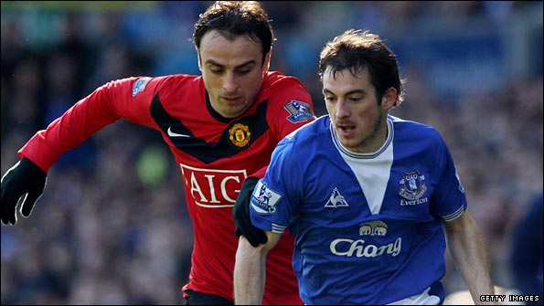 Leighton Baines in action against Manchester United