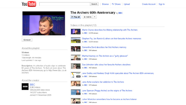 index page from YouTube, showing Archers 60th anniversary clips