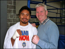 BBC's boxing correspondent Mike Costello and Manny Pacquiao