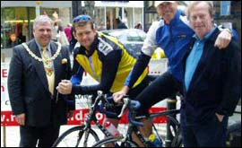 Cyclists with Mayor of Cheltenham