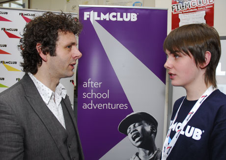 Michael Sheen with a Welsh FILMCLUB member at a pilot school