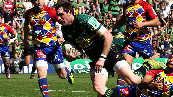 Northampton centre Jon Clarke scores their second try in the semi-final win over Perpignan
