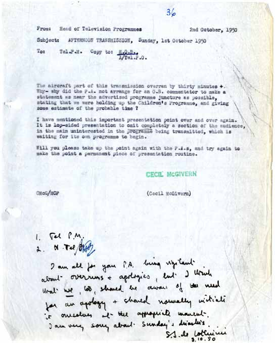 A BBC internal memo from the Head of Television Programmes in 1950.