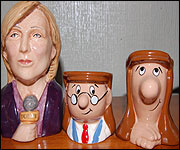 Sue McGregor and Tetley shaped egg cups