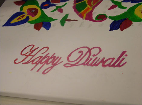 Happy Diwali painted on canvas