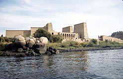 The island of Philae, showing temple of Isis