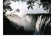 Victoria Falls on the border between modern Zimbabwe and Zambia, described by the Kololo tribe as 'Mosi-oa-Tunya' which means 'the snake that thunders'