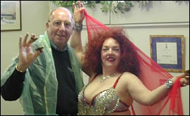 Dougie with belly dance teacher Annette