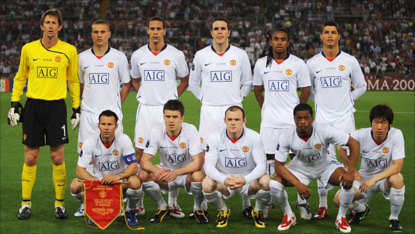 Manchester United's starting XI from the 2009 Champions League final against Barcelona