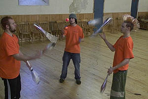 Mark, Chris and Ollie formed a circus group 5 years ago to teach young people how to juggle.