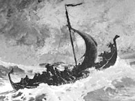 Artist's conception of the Viking ship of Norse explorer Leif Erikson