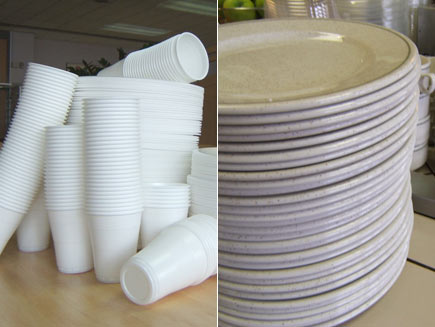 First half: Pile of polystyrene plates and cups. Second half: Ceramic plates