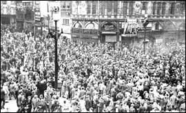Crowds gathered for VE Day at Picadilly Circus in London
