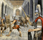 This modern painting shows Roman soldiers at Birdoswald Fort (Hadrian's Wall). A centurion watches men training.