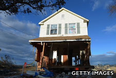 House surrounded by destruction of superstorm Sandy