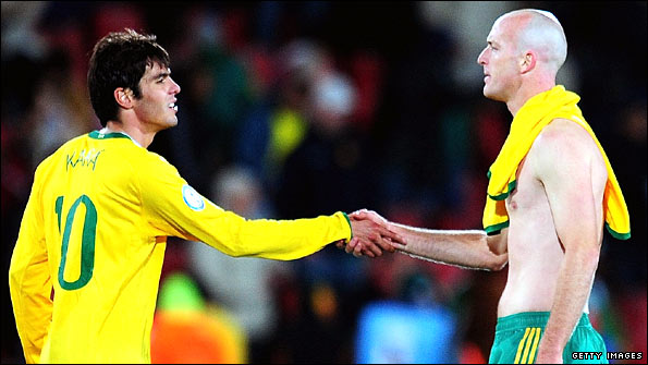 Booth shakes hands with Kaka after the Confederations Cup semi-final between South Africa and Brazil