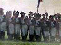 Photograph showing a reconstruction of soldiers during the Napoleonic wars
