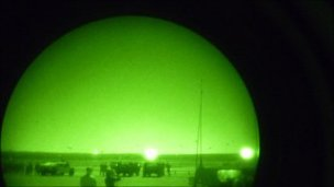 The view through night vision goggles.