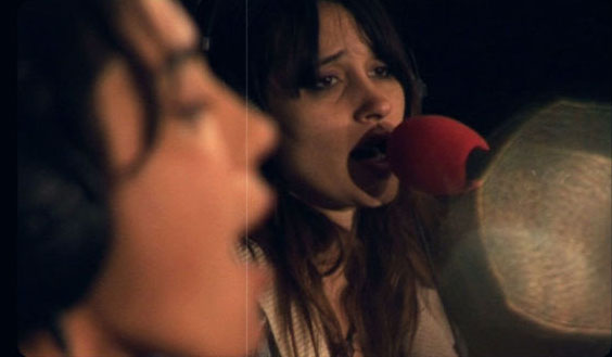 Warpaint, recording a session for Radio 1 in March 2011