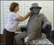 Barbara Asquith working on the sculpture of Blind Jack