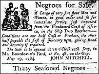 Notice of slave sale, 1784