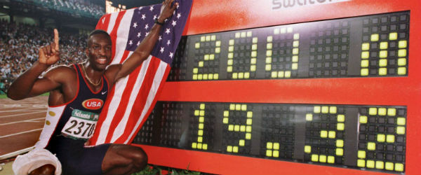 Michael Johnson breaks the world record for 200 metres at the Atlanta Olympics