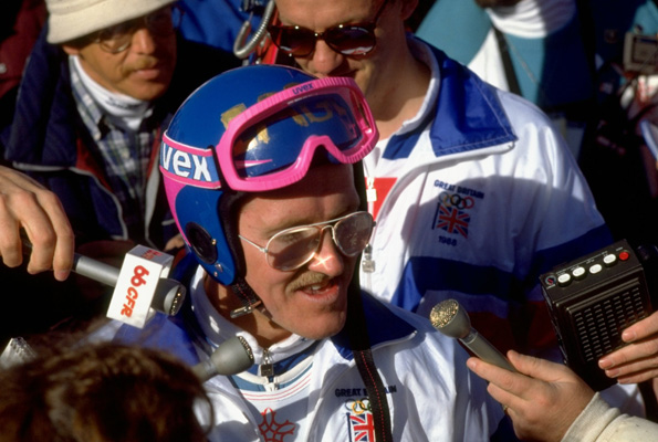 Eddie Edwards surrounded by the media in 1988 at the Calgary Olympics. Photo: Getty Images.