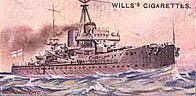 Painting of the British battleship, completed in less than a year: at that time a record in ship construction