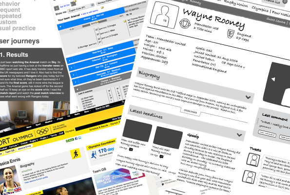Collection of mock-ups of BBC Sport website