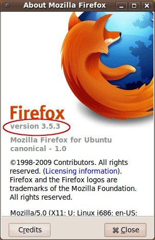 'About Mozilla Firefox' window