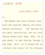 Letter from Clarence House about 'Men, Women and Clothes'
