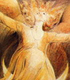 Picture by William Blake of a golden woman