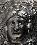 Detail of the head of Alexander the Great, 356-323 BC, with lion skin head covering, from silver thalamos from the tomb of Philip II of Macedonia at Vergina